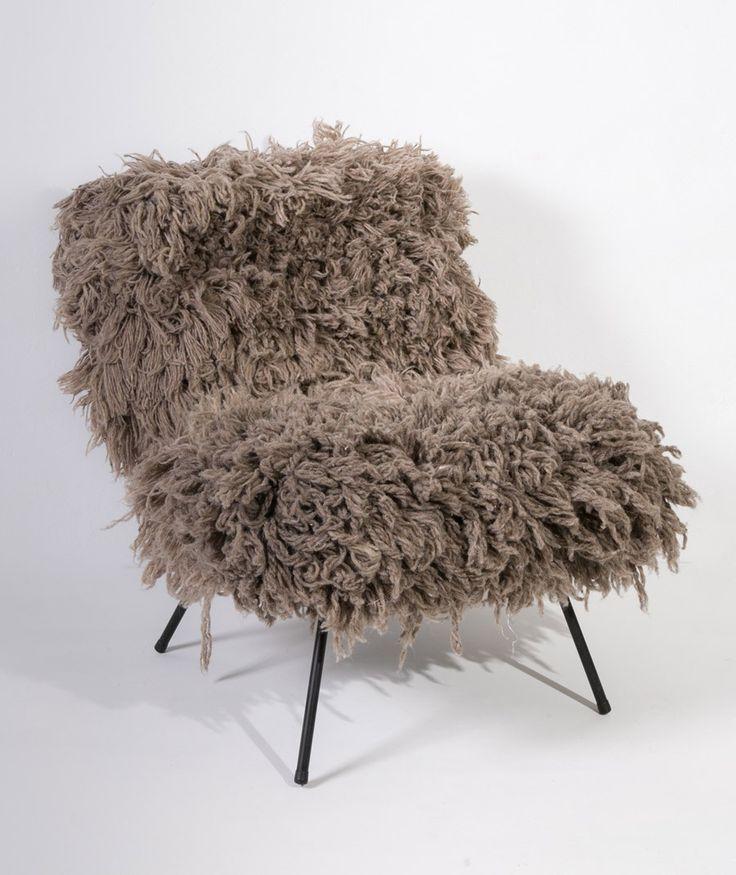 fauteuil en laine Yéti Kaki