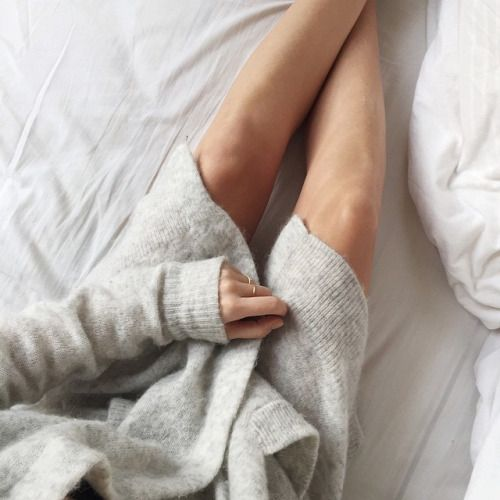 oversized cardigan in bed