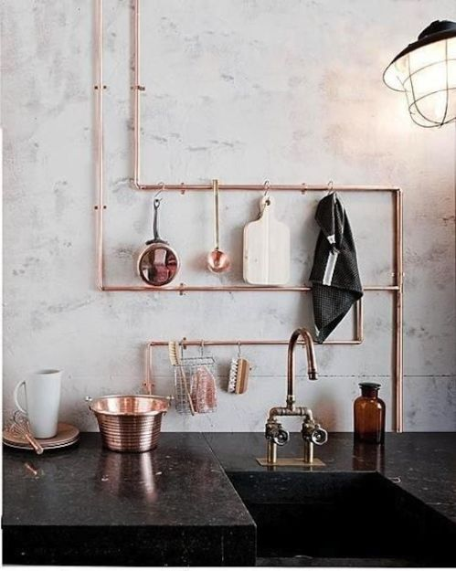 Copper pipes kitchen