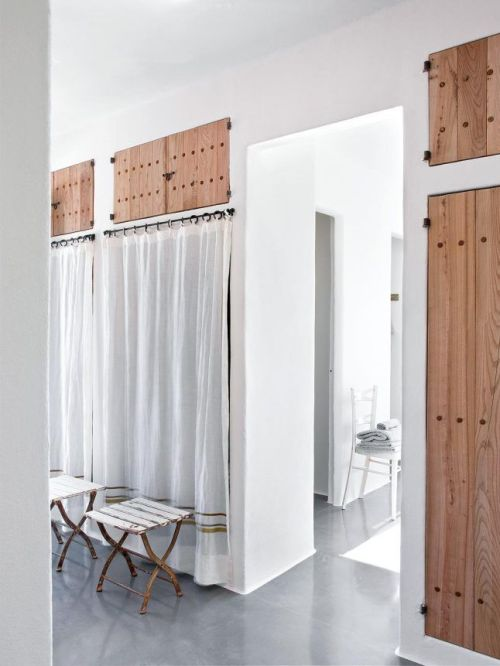 wood and linen curtain