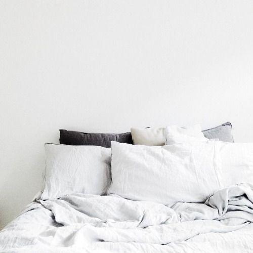 white linen bed