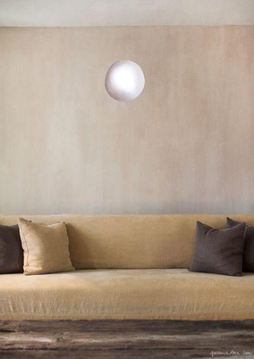 Brown velvet sofa - Greenwich Hotel