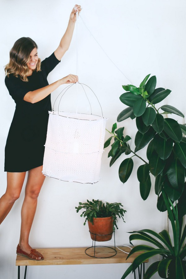 diy lace lantern