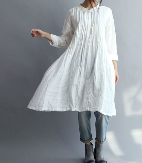 long-linen-dress-and-denim
